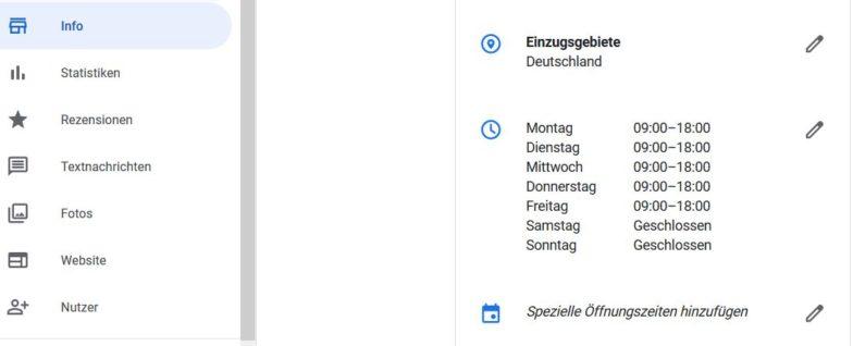 Öffnungszeiten im Google My Business Profil